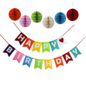 Threemart Happy Birthday Decoration Banner With Colourful Tissue Pom Pom Ball