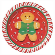 Gingerbread Man Christmas Dessert Plates, 8ct