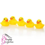 5 X Mini Yellow Bath time Squeaky Rubber Ducks