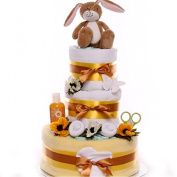 Little Nut Hare Nappy Cake, Unisex themed nappy cake, nappy cake gift neutral, nappy cake 3 tier neutral themed, baby shower, maternity leave