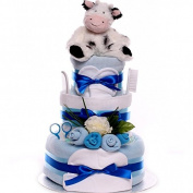 Moo Cow Nappy Cake, 3 tier nappy cake gift, nappy cake for a baby boy with cow theme, nappy cake gift idea new baby boy