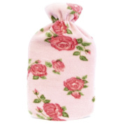 Kids Quality Soft Floral Fleece Covered Natural Rubber Hot Water Bottle Pink