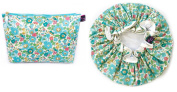 Exquisite Liberty Fabric Bath Duo, 1 Wash Bag and 1 Shower Cap Betsy Turquoise
