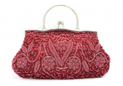 Whoinshop Women's Sequined Pearl Encrusted Evening Bag Wedding Clutch