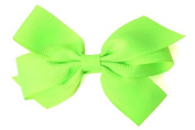 Ribbies Slipping Child Large Bow Barrette - Fluorescent Green