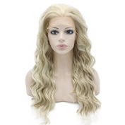 Iwona Long Wavy Lace Front Wig Half Hand Tied Heat Friendly Fibre Hair Ash Blonde Synthetic Hair Wig