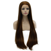 Iwona Long Straight Lace Front Synthetic Hair Highlight Brown Wig Natural Hand Tied Heat Resistant Wig Brown