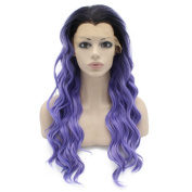 Iwona Long Wavy Ombre Black Purple Synthetic Lace Front Wig Half Hand Tied Heat Resistant Fibre Hair Ombre Wig Natural