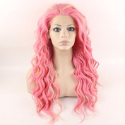 Iwona Long Wavy Ombre Pink Blond Synthetic Lace Front Wig Half Hand Tied Heat Resistant Fibre Hair Ombre Wig