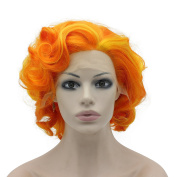 Iwona Heat Resistant Synthetic Lace Front Natural Short Curly Wig Orange Cosplay Party Wig