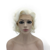 Iwona Short Curly Wavy Wig Half Hand Tied Synthetic Lace Front Natural Heat Resistant Wig White Blonde