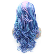 Iwona 60cm Long Wavy Celebrity Synthetic Lace Front Half Hand Tied Heat Friendly Fibre Blue Tone Beauty Natural Cosplay Wig