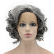 Iwona Heat Resistant Synthetic Lace Front Natural Short Curly Wig Old Lady Cosplay Wig
