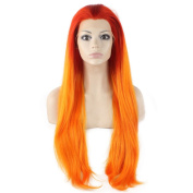 Iwona Long Straight Heat Resistant Synthetic Lace Front Red Root Orange Ombre Wig Cosplay
