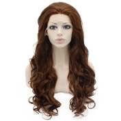 Iwona Long Wavy Heat Resistant Fibre Synthetic Lace Front Brown Auburn Natural Wig