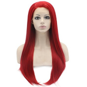 Iwona 60cm Long Straight Heat Resistant Synthetic Lace Front Natural Red Costume Party Wig