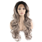 Iwona Long Wavy Celebrity Half Hand Tied Synthetic Lace Front Black Grey Ombre Wig Two Tone Natural Grey Wig