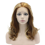 Iwona Medium Long Wavy Blonde Highlight Synthetic Lace Front Wig Natural