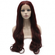 Iwona 70cm Long Wavy Celebrity Natural Hairline 99j Dark Wine Red Synthetic Lace Front Wig Natural