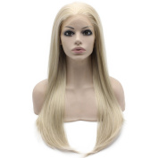 Iwona Heat Resistant Ash Blonde Synthetic Lace Front Natural Long Straight Blond Natural Wig
