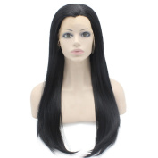 Iwona 60cm Long Straight Black Lace Front Wig Natural Half Hand Tied Synthetic Fibre Hair Wig