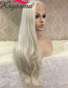 K'ryssma Naurual Wavy White Blonde Lace Front Wigs for White Women Realistic Looking Synthetic Hair Long Wig uk Half Hand Tied Heat Resistant Fibre 60cm