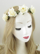 Ivory White Rose Flower Headband Hair Crown Festival Garland Boho Elastic 849 *EXCLUSIVELY SOLD BY STARCROSSED BEAUTY*