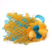 Baby Girl Infant Bow Peacock Headband Feather Flower Hair Band,Yellow