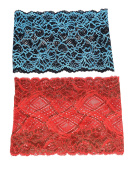 Fashionable Vintage Style Boho Lace Headband ( Gypsy Hippie . Headbands). SET OF TWO , BLUE AND RED