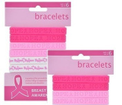 Breast Cancer Pink Ribbon Awareness Rubber Bracelets (6 Pack