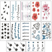 12 Sheets Fashion Black Removable Waterproof Temporary Tattoos Body Art Sticker for Women Girls
