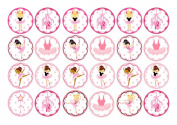 24 Ballet Ballerina tutu pumps Cake Toppers 4cm On Icing by Print4you