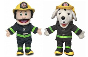 36cm Glove , Hand Puppet Pairs, Fireman and Dalmatian Dog Puppets