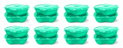 Preserve Square Food Storage Container Made from Recycled Plastic, 740ml Capacity, Set of 16, Aqua Blue
