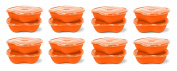 Preserve Square Food Storage Container Made from Recycled Plastic, 740ml Capacity, Set of 16, Orange