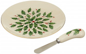 Lenox Holiday Cheese Plate with Knife, Ivory