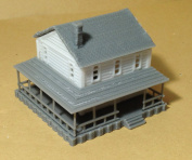 Outland Models Train Railway Layout Country 2-Story House White N Scale 1:160