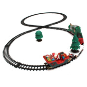 KINGSO Electric Toy Christmas Train Set Carriages Xmas Tree Headlight Tracks Set Battery Operated small