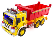 Friction Powered Dump Truck Toy with Lights and Sound for Kids Construction Toy
