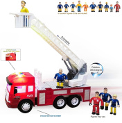 FUNERICA Fire Truck with Lights and Sounds/Sirens - Extending Ladder - 4 Sounds - Contains 5 Mini Funerica Fireman Sam Figures - 6 Powerful Friction Rolling Wheels. Firetruck Toy for Kids and Toddlers