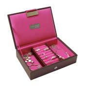 STACKERS Mini Size Chocolate Brown Lidded Stacker Jewellery Box with Bright Pink Lining.
