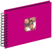 walther design SA-109-Q Fun Trend high quality wire-o bound album with die cut for your personal picture, 9 x 6.7 inch (23 x 17 cm), 40 black pages, pink