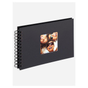 walther design SA-109-B Fun Standart high quality wire-o bound album with die cut for your personal picture, 9 x 6.7 inch (23 x 17 cm), 40 black pages, black