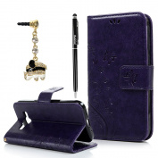 Galaxy Core Prime Case,Samsung G360 Case - BADALink Fashion Wallet Premium PU Leather with Embossed Flowers Butterfly Flip Cover with Hand Strap & 3D Cute Elephant Dust Plug & Stylus Pen - Purple