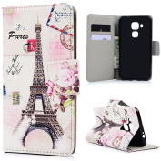 Huawei NOVA Plus Case - Wallet Flip Stand Case PU Leather Case with Shockproof TPU Inner Bumper Colourful Print Patterns Slim Protective ID/Credit Card Slots Cover by Badalink - Eiffel Tower
