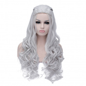 Women's Fashion Silver Long Curls Wave Cosplay Wigs Solid Colour