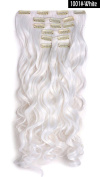 YOKWI Sy20Cp07Bw 50cm Curly Full Head Clip in Synthetic Hair Extensions 7pcs