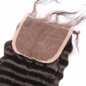 My lady Deluxe 10cm X 10cm Swiss Lace Closure Bleached Knots with Baby Hair Deep Wave Remy Virgin Human Hair