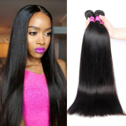 ANNMODE hair 24 26 70cm 3 Bundles Brazilian Virgin Hair Straight 100% Unprocessed Virgin Human Hair Straight Hair Extension Natual Black Colour 300g Total