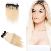 Tony Beauty Hair 360 Lace Band With Ombre #1B/613 Hair 3 Bundles Dark Root Silky Straight 2 Tone Ombre Hair Weft With Full Lace Band Frontal Closure With Baby Hair